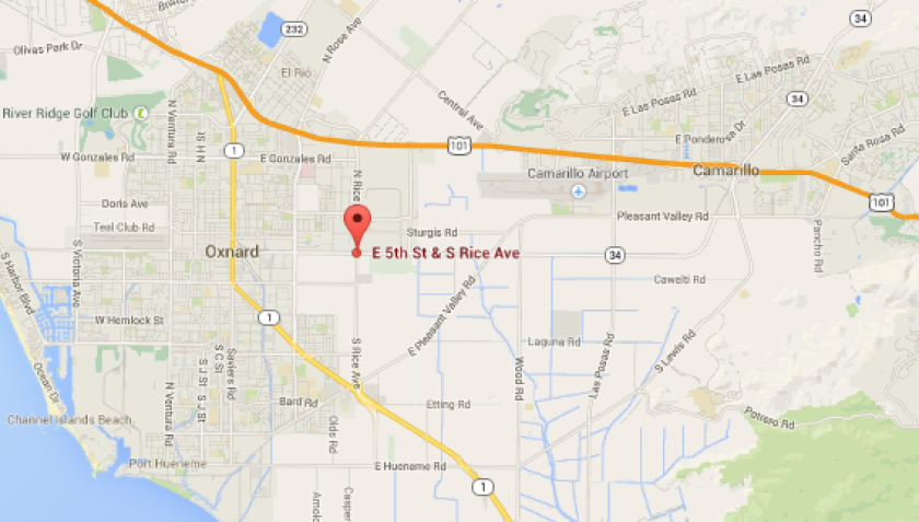 The map shows the location where police say two people were killed when their vehicle was struck by a train in Oxnard.