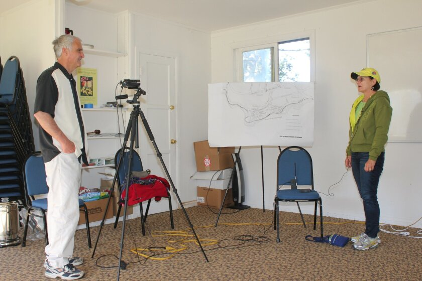 Dan Soderberg, vice-president of the Save Our Heritage Organisation, filmed Penny Wilkes' reflections on the Wall Street post office during a recent rally at Wisteria Cottage.