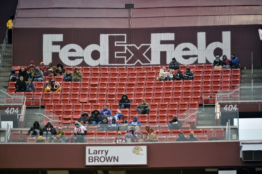FedEx Field is less than full during a game between the Washington Redskins and New York Giants in Landover, Md.