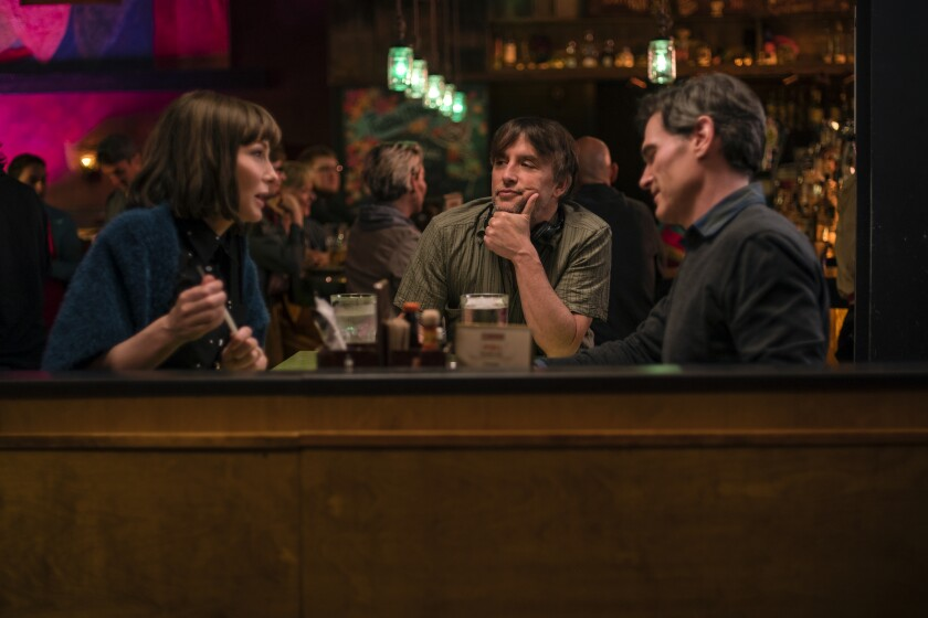 "Cate Blanchett, from left, Richard Linklater and Billy Crudup on the set of ""Where'd You Go, Bernadette."""