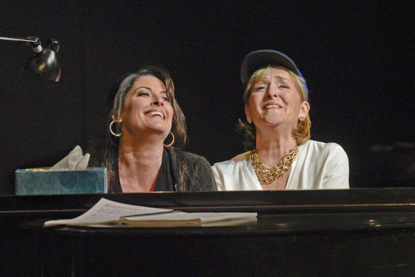 """Mezzo-sopranos Kate Aldrich as Arden Scott and Frederica von Stade as Winnie Flato in San Diego Opera's """"Great Scott."""""""