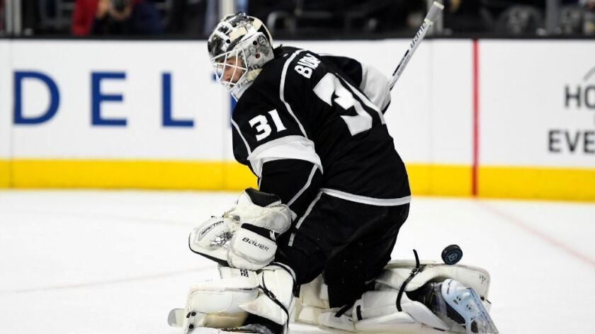 Peter Budaj gives up a goal in a Kings loss to the Arizona Coyotes on Feb. 16.