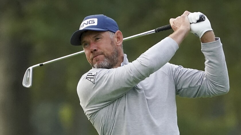 Lee Westwood, of England, plays his shot from the third tee during the second round of the US Open Golf Championship, Friday, Sept. 18, 2020, in Mamaroneck, N.Y. (AP Photo/John Minchillo)