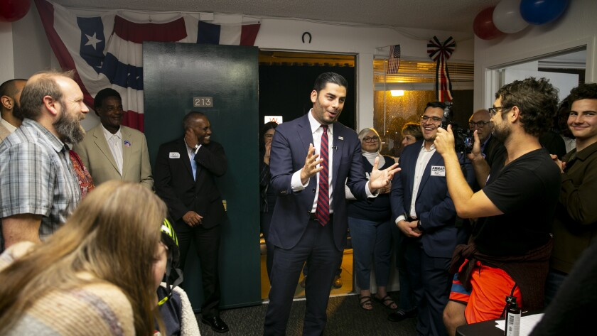 Ammar Campa-Najjar, a candidate for Congress in California's 50th Congressional District, celebrates election results at his campaign office on March 3, 2020 in El Cajon, California.