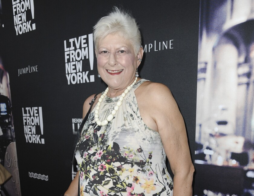 """FILE - Anne Beatts arrives at the premiere of """"Live from New York!"""" in Los Angeles on June 10, 2015. Beatts, a groundbreaking comedy writer who was on the original staff of """"Saturday Night Live"""" and later created the cult sitcom """"Square Pegs,"""" died Wednesday, April 7, at her home in West Hollywood, California, according to her close friend Rona Kennedy. She was 74. (Photo by Richard Shotwell/Invision/AP, File)"""