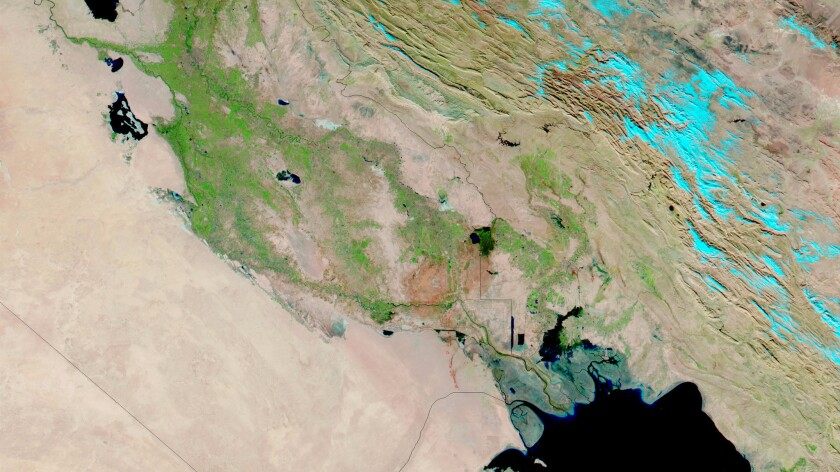 The Fertile Crescent seen from space. A genetic analysis of ancient farmers suggests agriculture arose in Mesopotamia more than once.