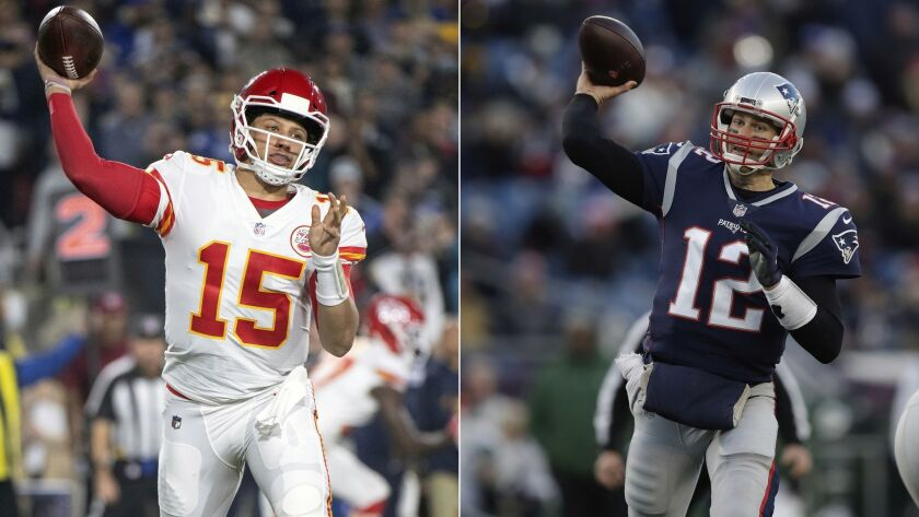 At left, in a Nov. 19, 2018 photo, Kansas City Chiefs quarterback Patrick Mahomes throws a pass against the Rams in Los Angeles. At right, in a Dec. 30, 2018 photo, New England Patriots quarterback Tom Brady throws during the second half of a game in Foxborough, Mass.