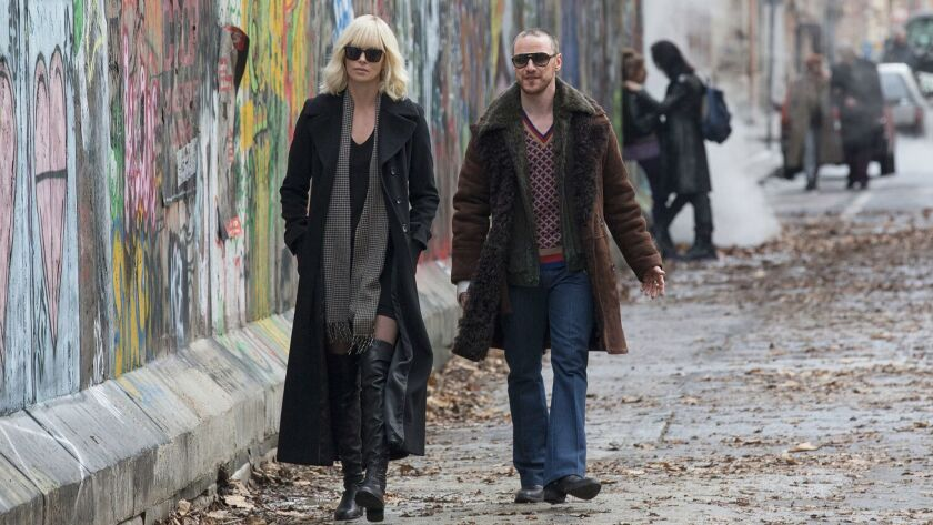 "Charlize Theron and James McAvoy in ""Atomic Blonde."""