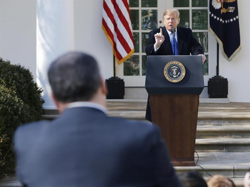 US President Donald Trump offers a press conference on Feb. 15, 2019, at the White House in Washington, United States. EPA-EFE / Jim Lo Scalzo