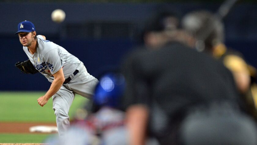 Los Angeles Dodgers starting pitcher Clayton Kershaw in action during the sixth inning against the San Diego Padres at Petco Park.