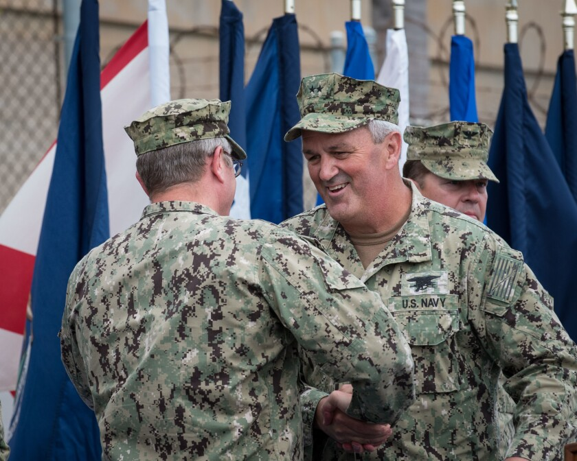 Rear Adm. Collin Green in 2018 as he assumed command of Naval Special Warfare Command.