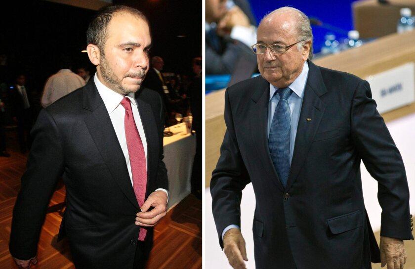 Jordanian Prince Ali bin al-Hussein, left, and FIFA President Sepp Blatter.