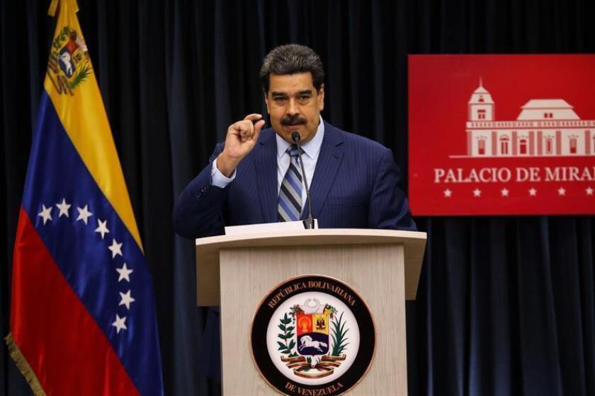 El presidente venezolano, Nicolás Maduro, habla durante una rueda de prensa, en la Sala de Prensa Simón Bolívar, del palacio de Miraflores en Caracas (Venezuela). EFE/Archivo