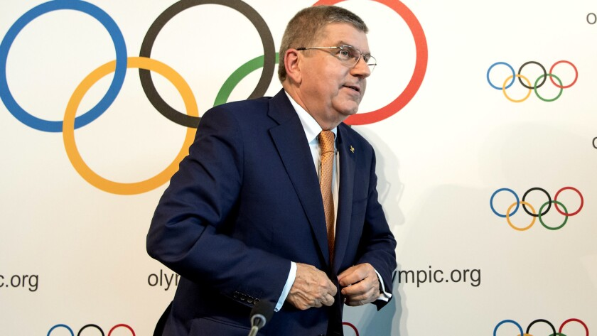International Olympic Committee, IOC, President Thomas Bach from Germany, leaves a press conference