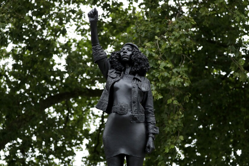 "A statue titled ""A Surge of Power (Jen Reid)"" in Bristol, England."
