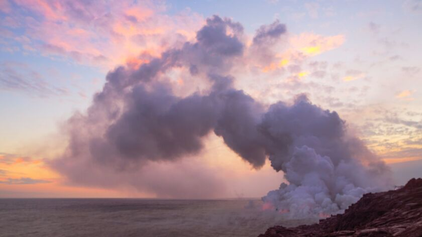 This is the lava entry point on Hawaii Island just as the sun is setting.