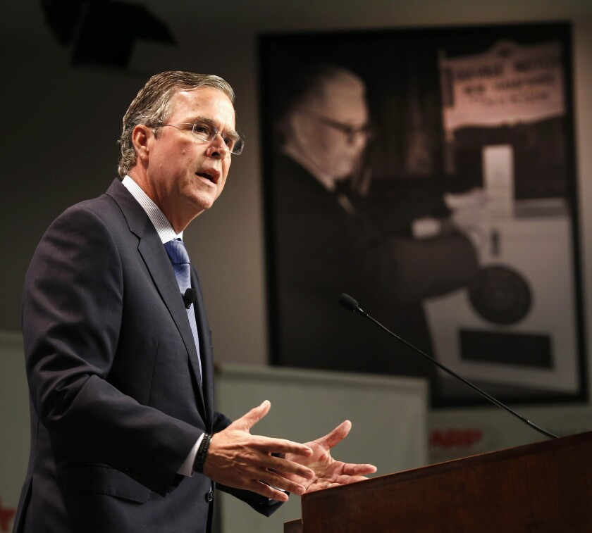 Former Florida Gov. Jeb Bush announces his plan to repeal and replace President Obama's healthcare law, Tuesday at Saint Anselm College in Manchester, N.H.