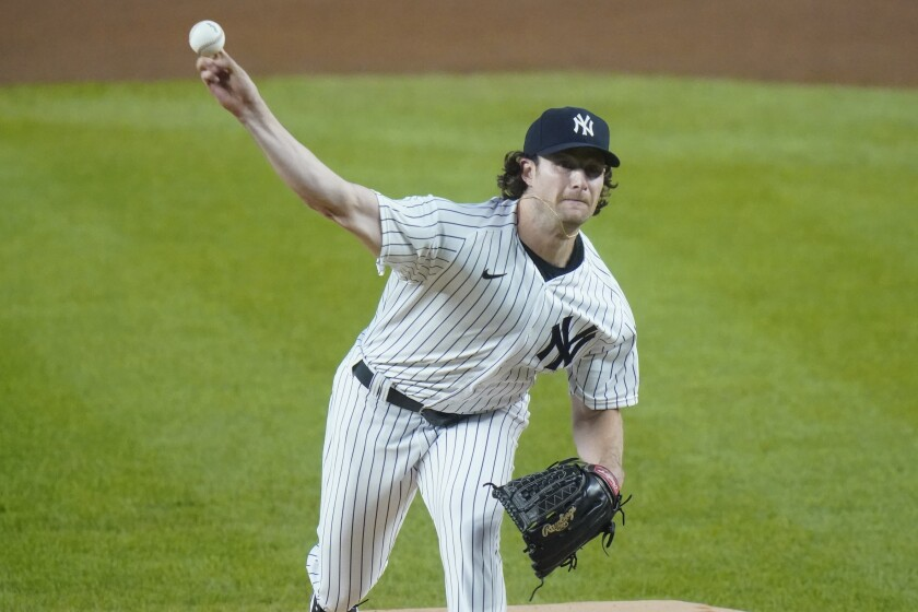 New York Yankees' Gerrit Cole delivers a pitch against the Toronto Blue Jays.