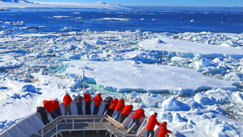 It may be easier to see Antarctica from the deck of a cruise ship. Here, passengers sail the Grandid