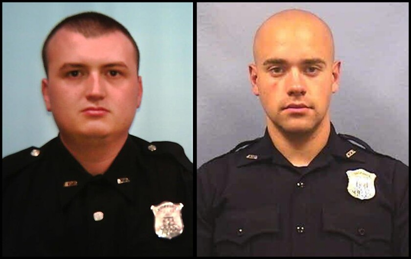 Atlanta Officers Devin Bronsan, left, and Garrett Rolfe.