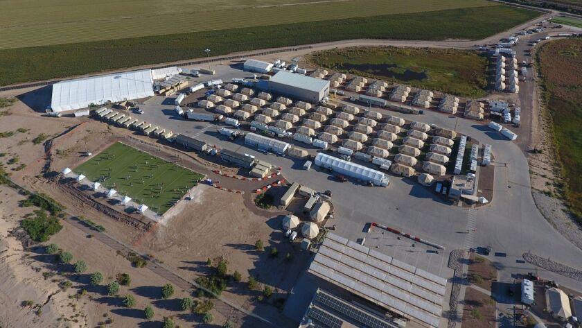 A U.S. migrant detention center in Tornillo, Texas.