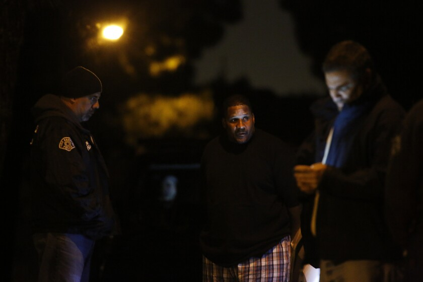 LAPD SWAT officers and DEA agents served a warrant on suspected skid row drug kingpin Derrick Turner in Cerritos early Wednesday morning as part of a massive drug sweep.