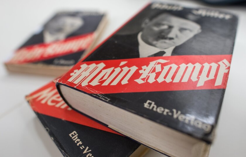 """Different editions of Adolf Hitler's """"Mein Kampf"""" are on display at the Institute for Contemporary History in Munich."""