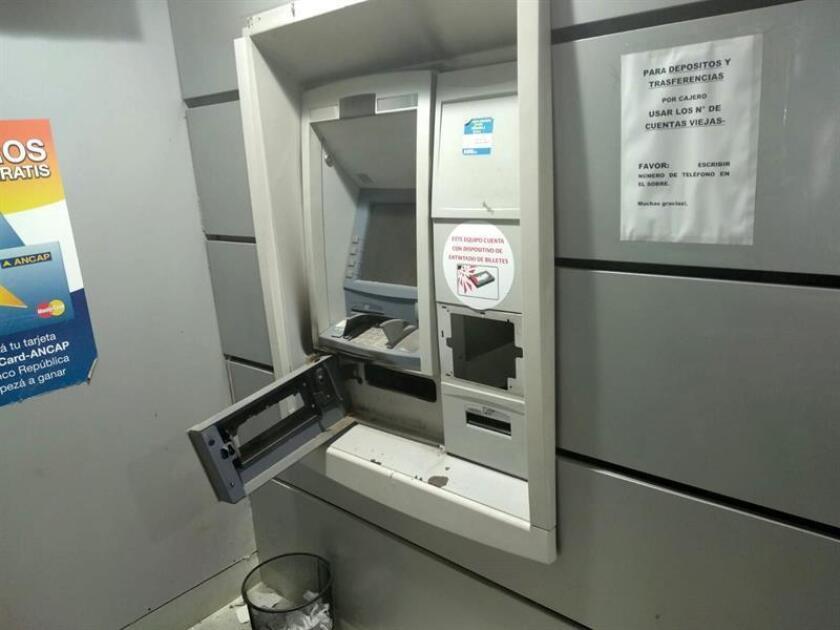 Photo sent by the Comunication unit of the Interior Minestry (Unicom) of a cash register after an explosión in Canelones, Uruguay. EPA-EFE/Cortesía Unicom /