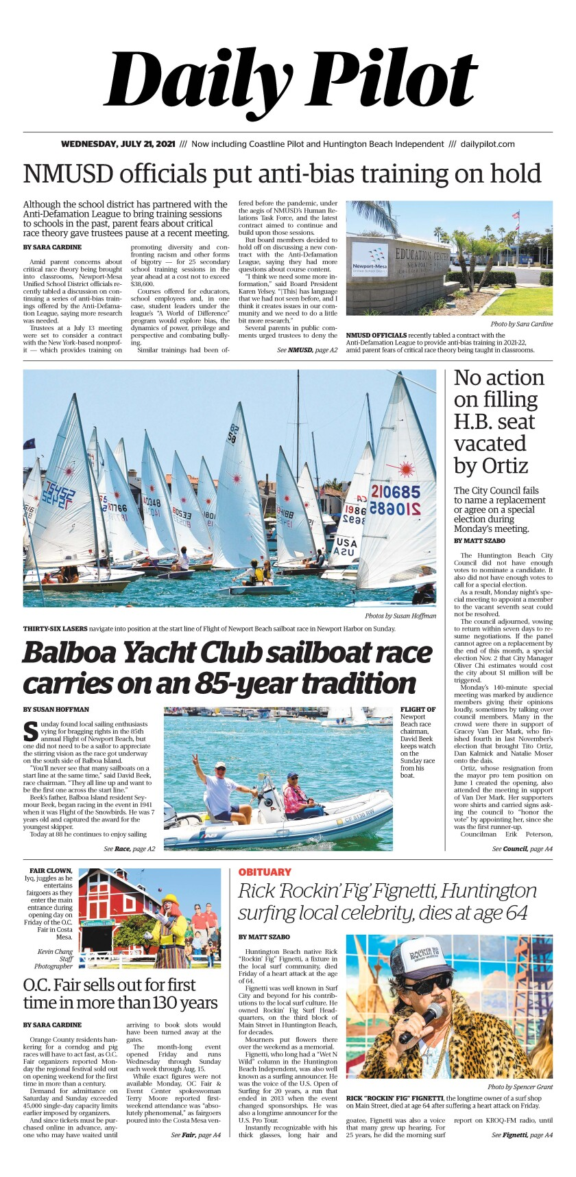 Front page of Daily Pilot e-newspaper for Wednesday, July 21, 2021.