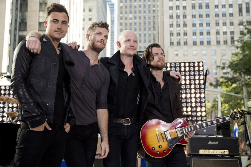 """FILE - This Aug. 13, 2012 file photo shows members of The Fray, from left, Joe King, Ben Wysocki, Isaac Slade and Dave Welsh on NBC's """"Today"""" show in New York. Two members of the rock band are now credited as co-writers on The Chainsmokers' No. 1 smash, """"Closer."""" When it was released this summer, """""""