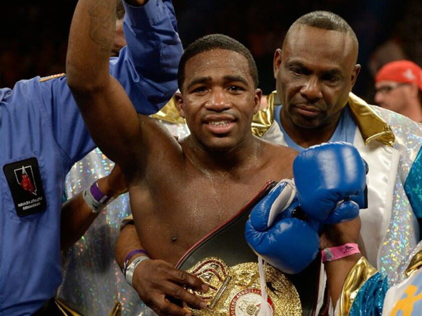 Adrian Broner reacts to his win over Carlos Molina on May 3, 2014.