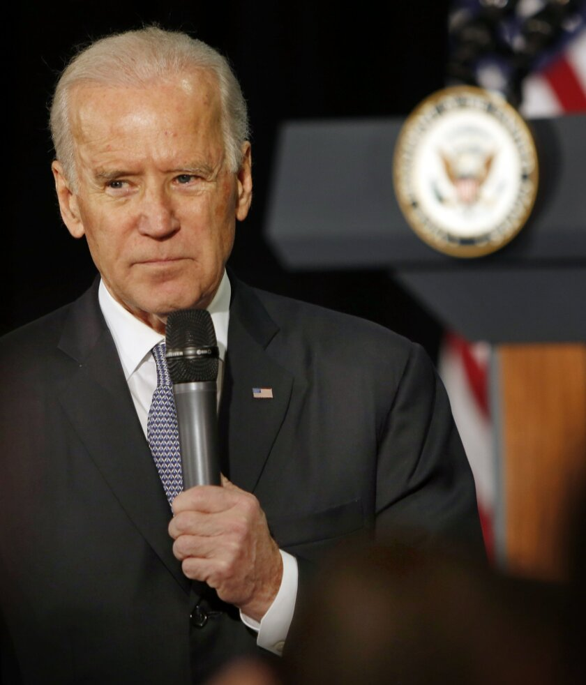 Vice President Joe Biden speaks at the Warren B. Rudman Center for Justice, Leadership and Public Policy at the University of New Hampshire School of Law Wednesday, Feb. 25, 2015, in Concord, N.H.(AP Photo/Jim Cole)