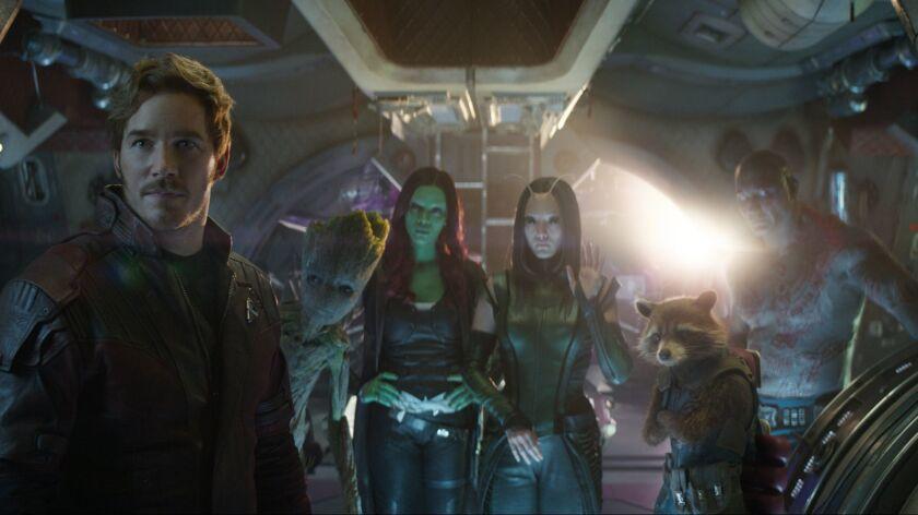 (L-R) - Star-Lord/Peter Quill (Chris Pratt), Groot (voiced by Vin Diesel), Gamora (Zoe Saldana), Ma