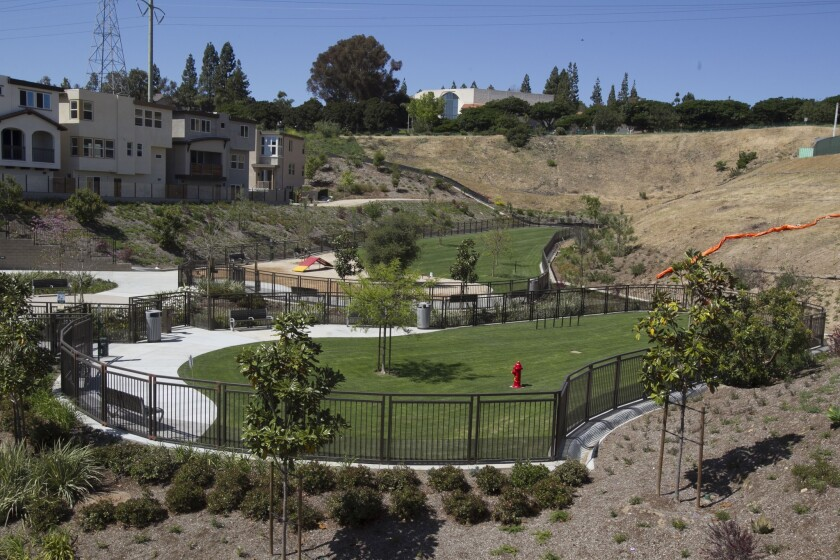 Two dog parks, one for big, the other for small dogs, are located at the very top of the park.