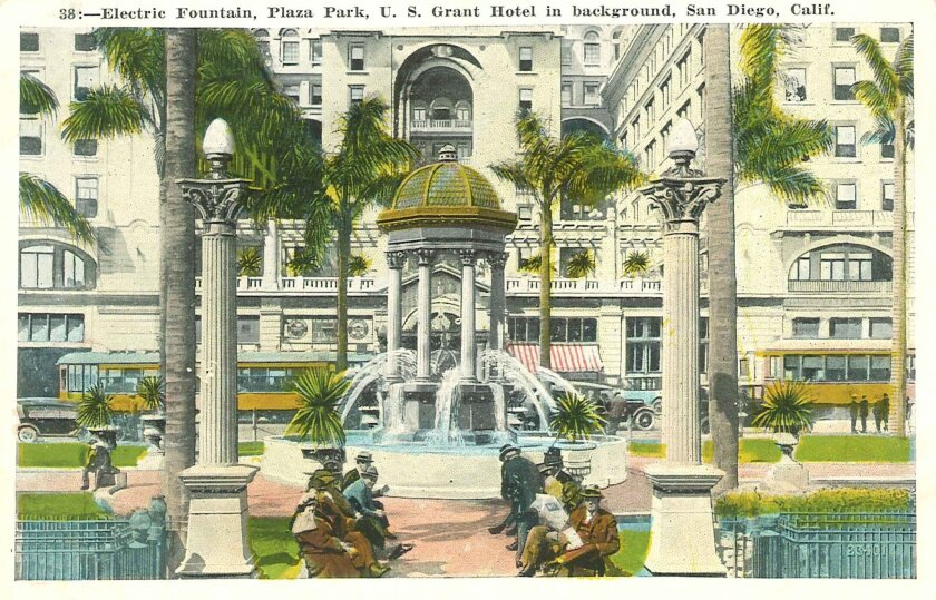 Horton Plaza's fountain was a marvel of its time, mixing electric lights with water.