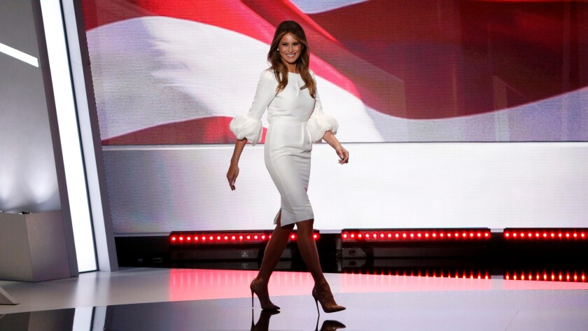 Melania Trump takes the stage at the Republican National Convention in Cleveland on July 18 to deliver the evening's keynote speech. For the occasion, she chose a dress by London-based, Serbian-born designer Roksanda Ilincic.