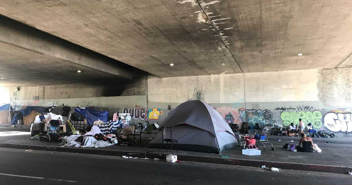 Woman sues L.A. after being struck by a car on a street where tents block the sidewalk