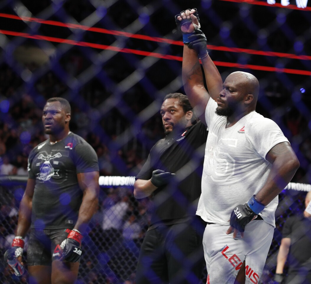 Derrick Lewis celebrates after defeating Francis Ngannou in a heavyweight mixed martial arts bout at UFC 226, Saturday, July 7, 2018, in Las Vegas.
