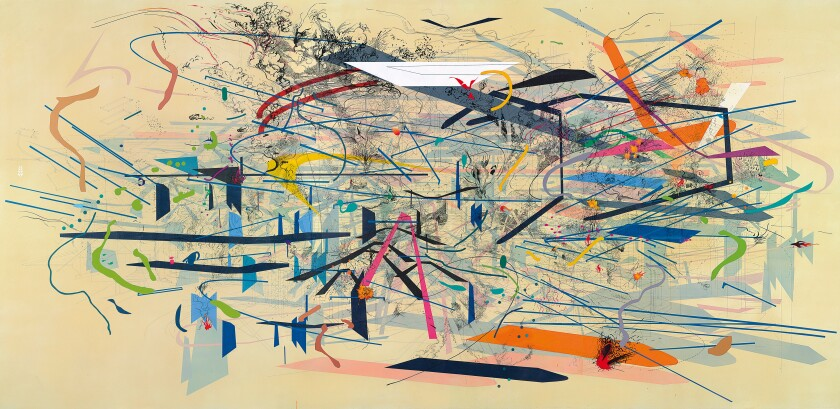 Review: In 'Julie Mehretu' at LACMA, the world explodes on canvas. Grab a seat for the show
