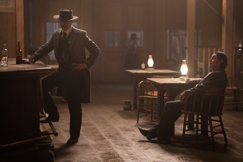 "Timothy Olyphant, left, and Ian McShane in HBO's ""Deadwood: The Movie."""