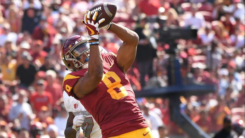 LOS ANGELES, CALIFORNIA SEPTEMBER 1, 2018-USC receiver Amon-Ra St. Brown catches a touchdon pass in