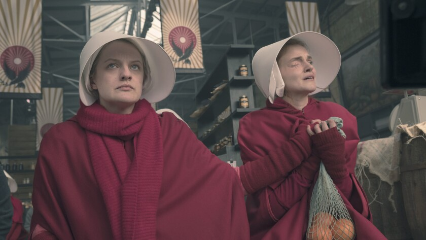 "Hulu's Season 2 of ""The Handmaid's Tale,"" which ends Wednesday, was more than just an excellent dystopian drama. It was also incredibly prescient. Pictured: Offred (Elisabeth Moss) and Janine (Madeline Brewer)."