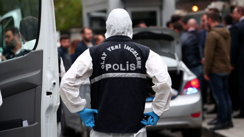 Turkish forensic police officers arrive Oct. 17 at the residence of the Saudi consul in Istanbul, Turkey.