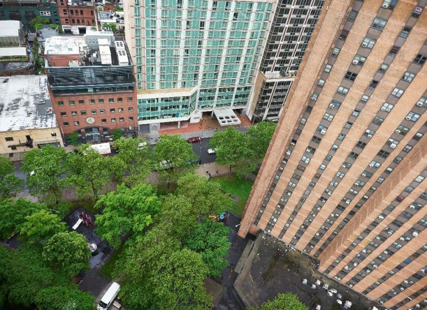 View of Holmes Towers Playground May 30, 2017 where NYC Housing Authority unveiled first project in its controversial plan to build market-rate apartments on public land - a 47-story tower of 50% market rate/50% affordable units (James Keivom/New York Daily News)