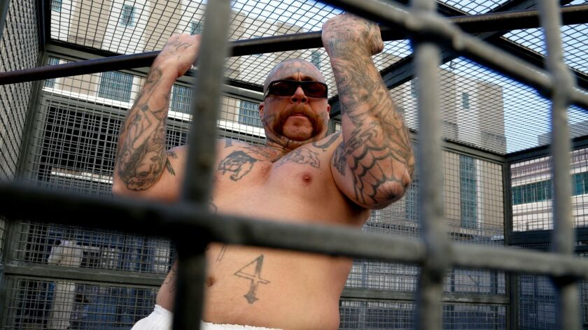 Condemned inmate Robert Galvan gets some exercise at San Quentin prison.