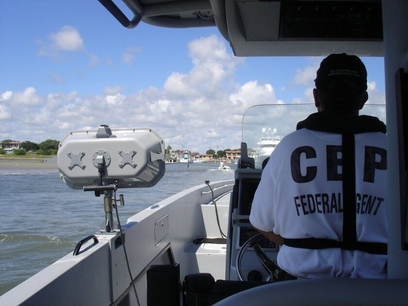 U.S. Customs patrol boat with an LRAD device onboard