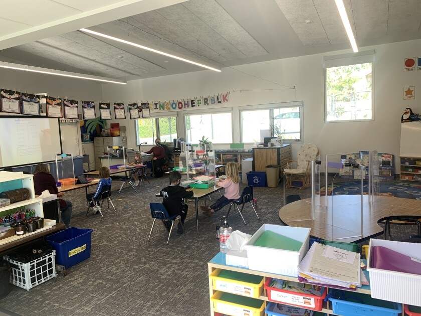 Students are learning in the newly completed classrooms at Cardiff School.