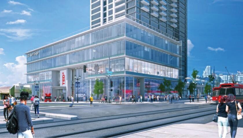 Representación de UC San Diego @ Park & Market, el nuevo edificio de la universidad