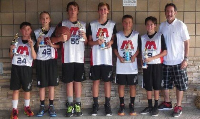 Pictured (L-R): Jake Cabulio, Sean Reed, Holden Brosnan, Collin Rova, Kasen Dickerson, Alex Jenkins, Coach Rob Jenkins. Not pictured: Anthony Bland. Courtesy photo