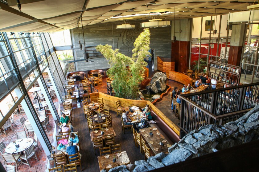 Main dining area and bar of Stone Brewing in Escondido, Calif.